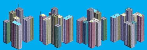 Isometrische Wolkenkratzer eingestellt Stockfotografie