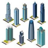 Isometrische Wolkenkratzerstadtmarksteine eingestellt Lokalisierte flache megapolis Bürogebäude Stockfotos