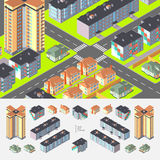 Isometrische Woningsgebouwen Stock Afbeelding