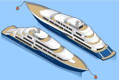 Isometrische Yacht im Blau Stockfoto