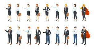 Isometrische Zakenlieden 3D karakters van de bureauwerknemer, verschillende mannen en vrouwen die zitting en het communiceren bev stock illustratie