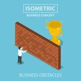 Isometrische zakenman die zich voor bakstenen muur met troph bevinden stock illustratie