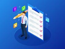Isometrische zakenman met controlelijst en om lijstklembord met een controlelijstprojectleiding te doen, die plannen en vector illustratie