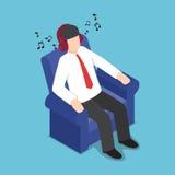 Isometrische Zakenman Resting bij Bank en het Luisteren Muziek van H royalty-vrije illustratie
