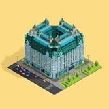 Isometrische Zusammensetzung des Gebäudehotels stock abbildung