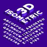 Isometrischer Alphabetguß Buchstaben, Zahlen und Symbole des Effektes 3d mit Schatten lizenzfreie abbildung