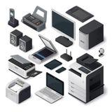 Isometrischer Büroeinrichtungs-Vektorsatz lizenzfreie abbildung
