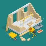 Isometrischer Bau eines Backsteinhauses Wohnungsbauprozess-Vektorillustration Nach Hause konstruieren mit Werkzeugen und lizenzfreie abbildung