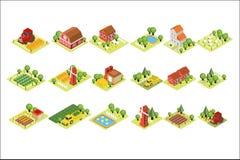Isometrischer Bauernhofsatz Haus, Felder mit der Ernte, Schafe, Windmühlen, landwirtschaftliche Maschinen und hölzerne Scheunen w lizenzfreie abbildung