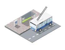 Isometrischer Busbahnhof des Vektors mit Kartenverkaufsanschluß, Oberleitungsbus Stockbild