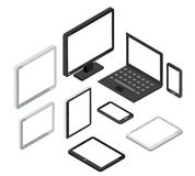 Isometrischer Computer 3d und Laptop, Tabletten-PC Smartphonevektorikonen Stockbild