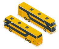 Isometrischer doppelter Decker Bus oder Intercity Der Zug ist auf der Station Für infographics und Designspiele Lizenzfreie Stockfotografie