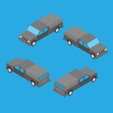 Isometrischer doppelter Fahrerhauskleintransporter Stockfotografie