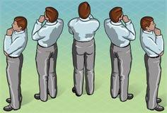 Isometrischer durchdachter stehender Mann Lizenzfreies Stockfoto