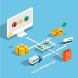 Isometrischer E-Commerce des flachen Netzes 3d, elektronisches Geschäft, on-line-SH Lizenzfreie Stockfotos