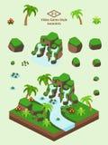 Isometrischer einfacher Rock eingestellt - tropische Dschungel-Felsformation Lizenzfreies Stockfoto