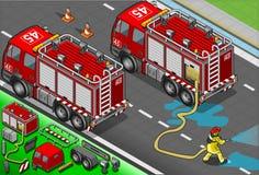 Isometrischer Feuerwehrmann Truck in der hinteren Ansicht Stockfotos