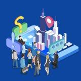 Isometrischer flacher Ausstellungs-Förderungsstand des Vektors 3D Illustration 3d auf weißem Hintergrund lizenzfreie stockfotografie