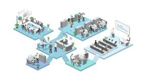 Isometrischer flacher Bürobodeninnenministerium-Konzeptvektor der Zusammenfassung 3d lizenzfreies stockfoto