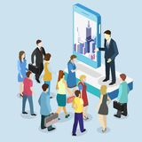 Isometrischer flacher Förderungsstand der Ausstellung 3D Illustration 3d auf weißem Hintergrund Stockfotos