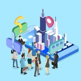 Isometrischer flacher Förderungsstand der Ausstellung 3D Illustration 3d auf weißem Hintergrund Stockbilder