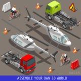 Isometrischer flacher Hilfsfördermaschinen-Fahrsatz des Fahrzeug-3d Stockfotografie