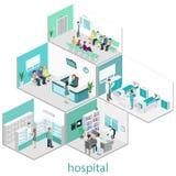 Isometrischer flacher Innenraum des Krankenhauszimmers, Apotheke, behandelt Büro, Warteraum lizenzfreies stockfoto