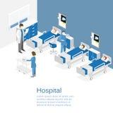 Isometrischer flacher Innenraum des Krankenhauszimmers Doktoren, die den Patienten behandeln lizenzfreie abbildung