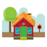 Isometrischer Front Simple House Lizenzfreie Stockbilder