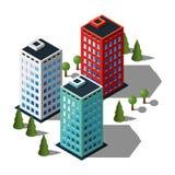 Isometrischer Gebäudeillustrationssatz Lizenzfreies Stockbild