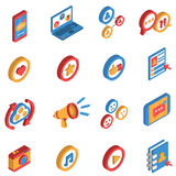 Isometrischer Ikonen-Satz des Sozialen Netzes Stockfotos