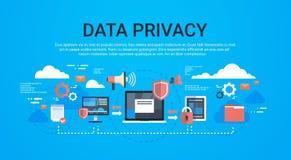 Isometrischer infographic Datenschutz GDPR auf blauem Hintergrundnetzschutz von persönliches Speicherallgemeinen Daten vektor abbildung