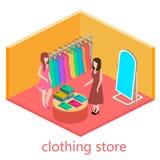 Isometrischer Innenraum des Kleidungsshops Stockfoto