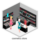 Isometrischer Innenraum des Kosmetikshops Stockfotografie
