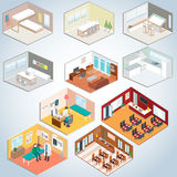Isometrischer Innenraumsatz, isometrische Räume Stockfotografie