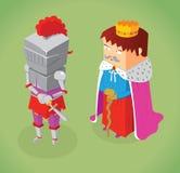 Isometrischer König und Ritter Stockbild