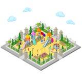 Isometrischer Kinderspielplatz im Park mit Leuten, Sweengs, Karussell, Dia und Sandkasten Stockfotografie