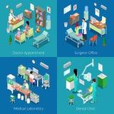 Isometrischer Krankenhaus-Innenraum Doktor Appointment, medizinisches Labor, zahnmedizinische Klinik, Chirurg Office Lizenzfreies Stockfoto