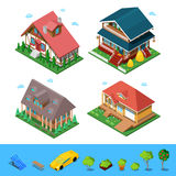 Isometrischer ländlicher Häuschen-Gebäude-Haus-Satz Flache private Architektur 3d Stockbild