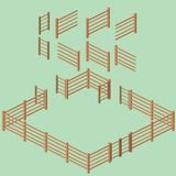 Isometrischer Lattenzaun Building Kit Stockfoto
