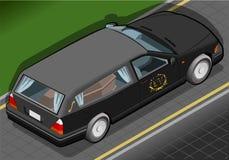 Isometrischer Leichenwagen in der hinteren Ansicht Lizenzfreies Stockfoto