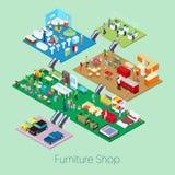 Isometrischer Möbel-Shop nach innen mit Küchen-, Badezimmer-und Wohnzimmer-Möbeln Lizenzfreie Stockfotografie