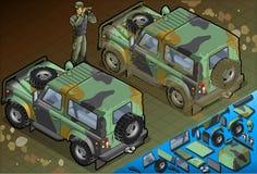 Isometrischer Militärjeep mit Soldaten in der hinteren Ansicht Stockfotos