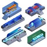 Isometrischer moderner Schienentransport-Satz Stockbilder