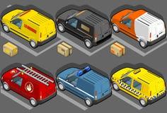 Isometrischer Packwagen in sechs Baumustern Stockfotos