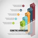 Isometrischer Pfeil hält Infographic ab Stockfoto