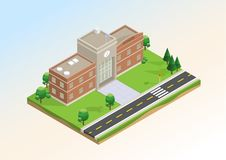 Isometrischer Plan der Schule mit Infrastruktur Lizenzfreie Stockbilder