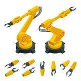 Isometrischer Roboterarm, Hand, flache Vektorikonen des Industrieroboters eingestellt Robotik-Industrie-Einblicke Automobil und Stockfotografie