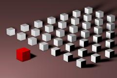 Isometrischer roter einzigartiger Würfel vor vielen weißen Führung, Einzigartigkeit, Individualität, Einsamkeit, Unterschied und lizenzfreie abbildung