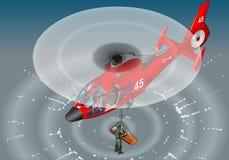 Isometrischer roter Hubschrauber im Flug in der Rettung Stockfoto